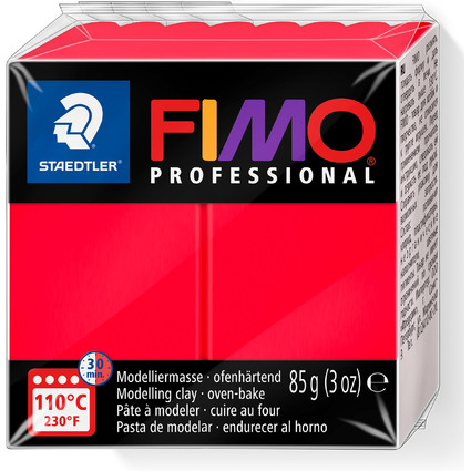 FIMO PROFESSIONAL Modelliermasse, ofenhärtend, echtrot, 85 g