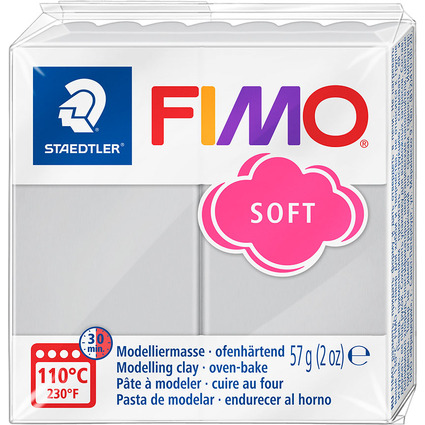 FIMO SOFT Modelliermasse, ofenhärtend, delfingrau, 57 g