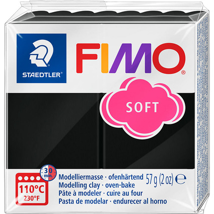 FIMO SOFT Modelliermasse, ofenhärtend, schwarz, 57 g