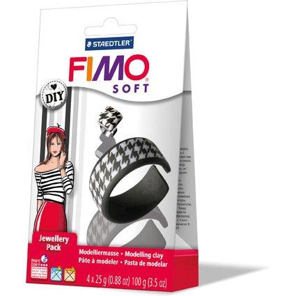 """FIMO SOFT Schmuck-Set """"Schwarz & Weiß"""", ofenhärtend"""