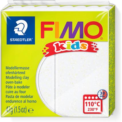 FIMO kids Modelliermasse, ofenhärtend, glitter-weiß, 42 g
