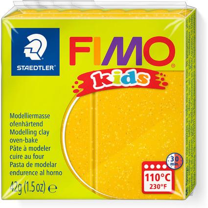 FIMO kids Modelliermasse, ofenhärtend, glitter-gold, 42 g