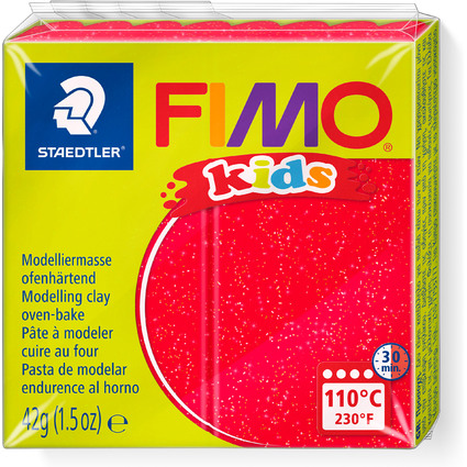FIMO kids Modelliermasse, ofenhärtend, glitter-rot, 42 g