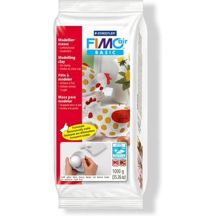 FIMO air BASIC Modelliermasse, lufthärtend, weiß, 1.000 g