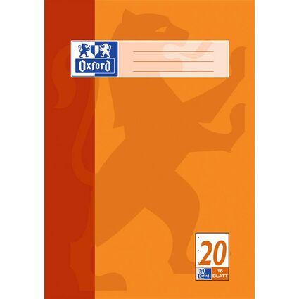 Oxford Schulblock DIN A4, 50 Blatt, kopfgeleimt, Lineatur 20