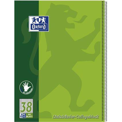 Oxford Linkshänder-Collegeblock, DIN A4+, kariert, 80 Blatt