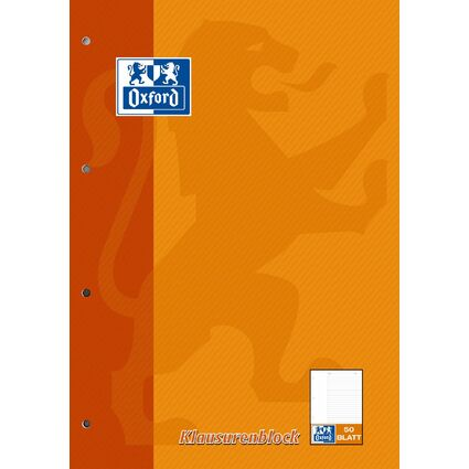 Oxford Klausurenblock, DIN A4, 50 Blatt, liniert