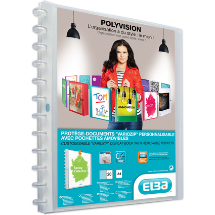ELBA Sichtbuch Vario-Zipp POLYVISION, Farbe: transparent