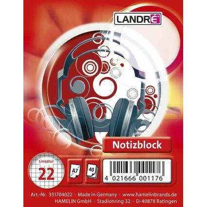LANDRÉ Spiralnotizblock, DIN A7, 40 Blatt, kariert