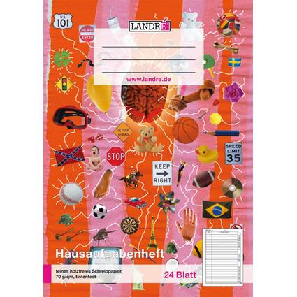 LANDRÉ Hausaufgabenheft, DIN A5, 24 Blatt, 2 Design-Motive