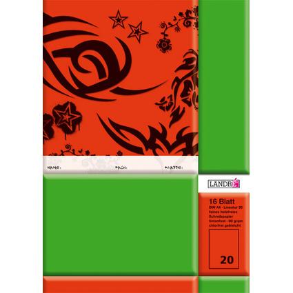 LANDRÉ Schulheft DIN A4, Lineatur 20 / blanko, 16 Blatt