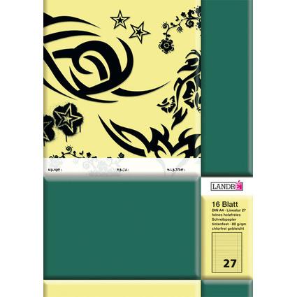 LANDRÉ Schulheft DIN A4, Lineatur 27 / liniert, 16 Blatt