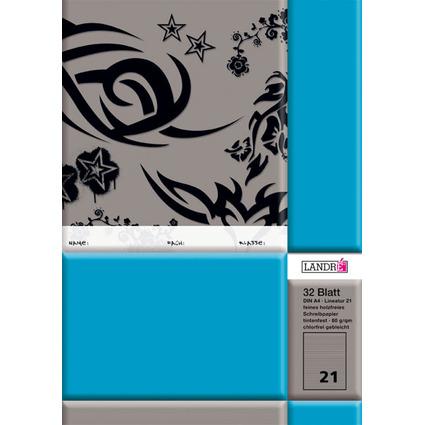 LANDRÉ Schulheft DIN A4, Lineatur 21 / liniert, 32 Blatt