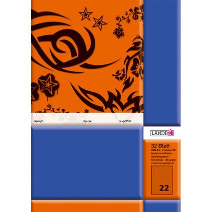 LANDRÉ Schulheft DIN A4, Lineatur 22 / kariert, 32 Blatt