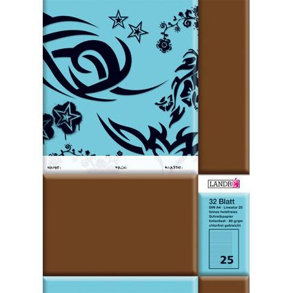 LANDRÉ Schulheft DIN A4, Lineatur 25 / liniert, 32 Blatt