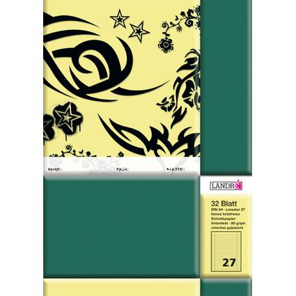 LANDRÉ Schulheft DIN A4, Lineatur 27 / liniert, 32 Blatt