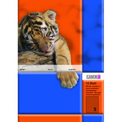 LANDRÉ Schulheft DIN A5, Lineatur 5 / 5 mm kariert, 16 Blatt