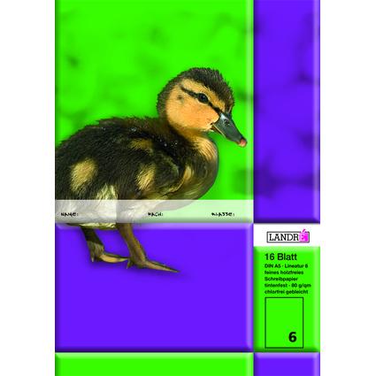 LANDRÉ Schulheft DIN A5, Lineatur 6 / blanko, 16 Blatt