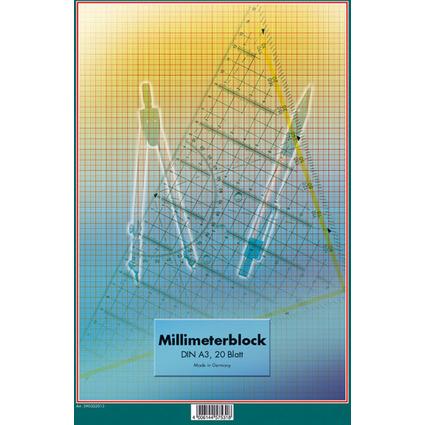 LANDRÉ Millimeterpapier-Block DIN A3, 20 Blatt, 80 g/qm