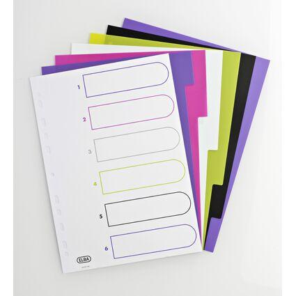 ELBA Kunststoff-Register myColour, DIN A4, 6-teilig, blanko