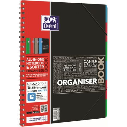 "Oxford Studium Collegeblock ""ORGANISERBOOK"", A4+, kariert"