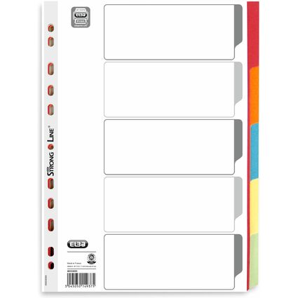 ELBA Karton-Register, blanko, DIN A4, farbig, 5-teilig