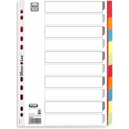 ELBA Karton-Register, blanko, DIN A4, farbig, 10-teilig