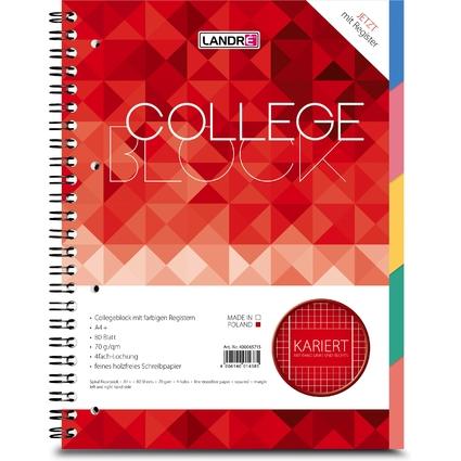 "LANDRÉ Register-Collegeblock ""COLLEGE"", DIN A4, kariert"