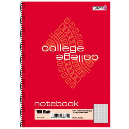 """LANDRÉ Notebook """"college"""" DIN A5, 160 Blatt, kariert"""