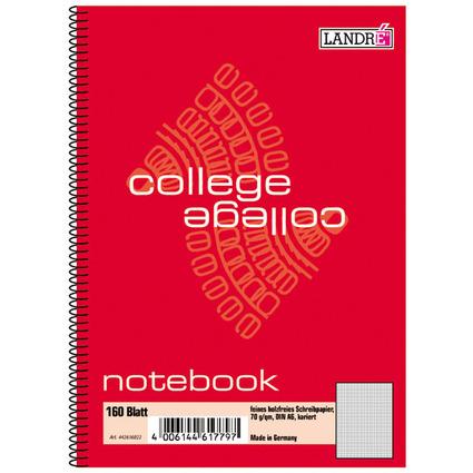 """LANDRÉ Notebook """"college"""" DIN A6, 160 Blatt, kariert"""