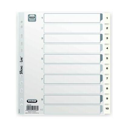 ELBA Kunststoff-Register, Zahlen, DIN A4, weiß, 10-teilig