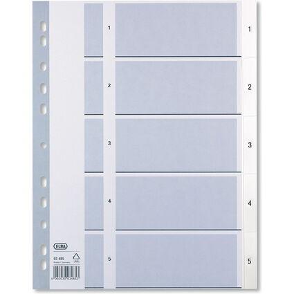 ELBA Kunststoff-Register, Zahlen, DIN A4, weiß, 5-teilig
