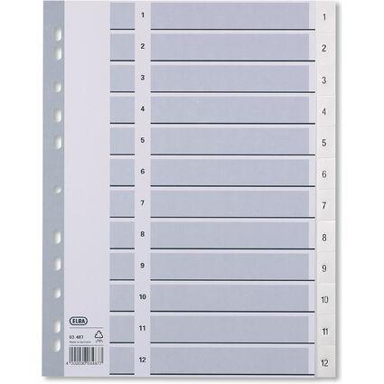 ELBA Kunststoff-Register, Zahlen, DIN A4, weiß, 12-teilig