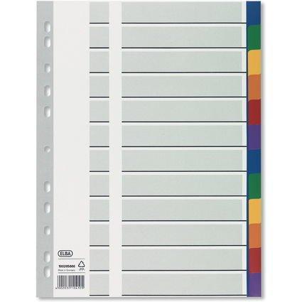 ELBA Kunststoff-Register, blanko, farbig, A4, 12-teilig, Ü.b
