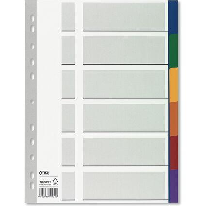 ELBA Kunststoff-Register, blanko, farbig, A4, 6-teilig Ü.b.