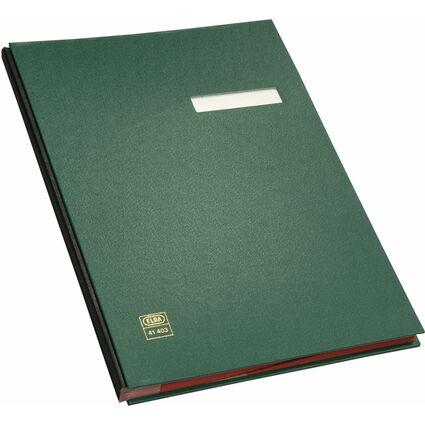 ELBA Unterschriftenmappe dehnbarer Leinenrücken, grün