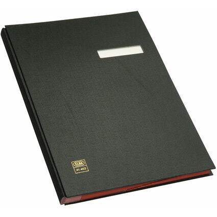 ELBA Unterschriftenmappe dehnbarer Leinenrücken, schwarz