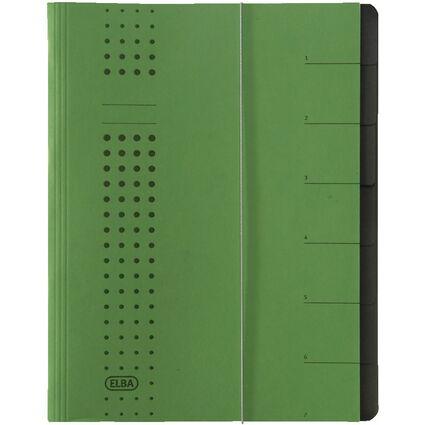ELBA chic-Ordnungsmappe, A4 grün, Fächer 1-7, Karton