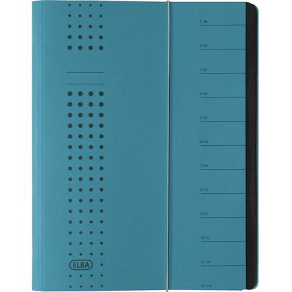 ELBA chic-Ordnungsmappe, A4, blau, mit 12 Fächern, Karton