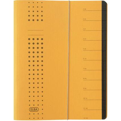 ELBA chic-Ordnungsmappe, A4 gelb, Fächer 1-12, Karton