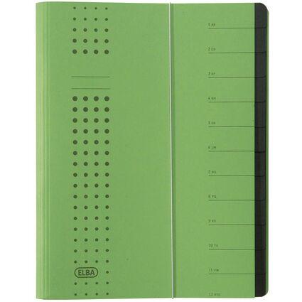 ELBA chic-Ordnungsmappe, A4 grün, Fächer 1-12, Karton