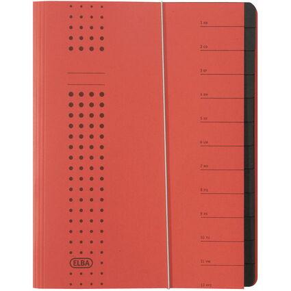 ELBA chic-Ordnungsmappe, A4 rot, Fächer 1-12, Karton