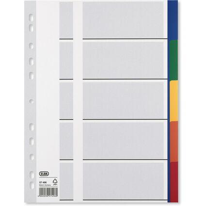 ELBA Kunststoff-Register, blanko, farbige Taben, 5-teilig