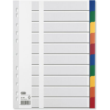 ELBA Kunststoff-Register, blanko, farbige Taben, 10-teilig