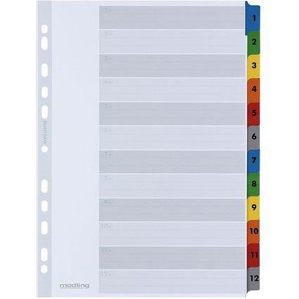 ELBA Mylarkarton-Register, Zahlen, DIN A4, farbig, 12-teilig