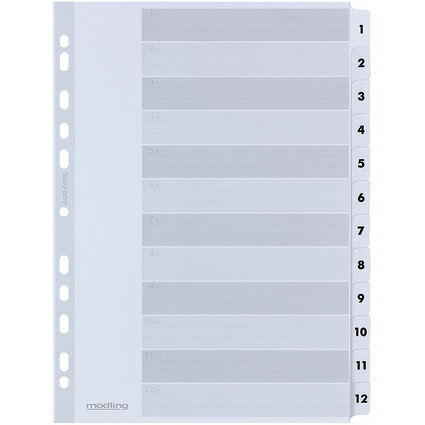 ELBA Mylarkarton-Register, Zahlen, DIN A4, weiß, 12-teilig
