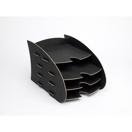 Fellowes Briefablage EARTH, aus Holz, 4 Ablagen, schwarz