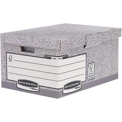 Fellowes BANKERS BOX SYSTEM Archiv-Klappdeckelbox Maxi, grau
