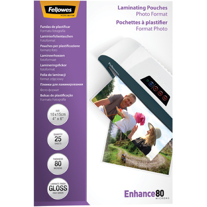 Fellowes Laminierfolientasche, 150 x 100 mm, 160 mic