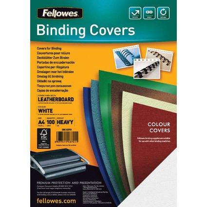Fellowes Deckblatt Delta, Lederstruktur, DIN A4, weiß